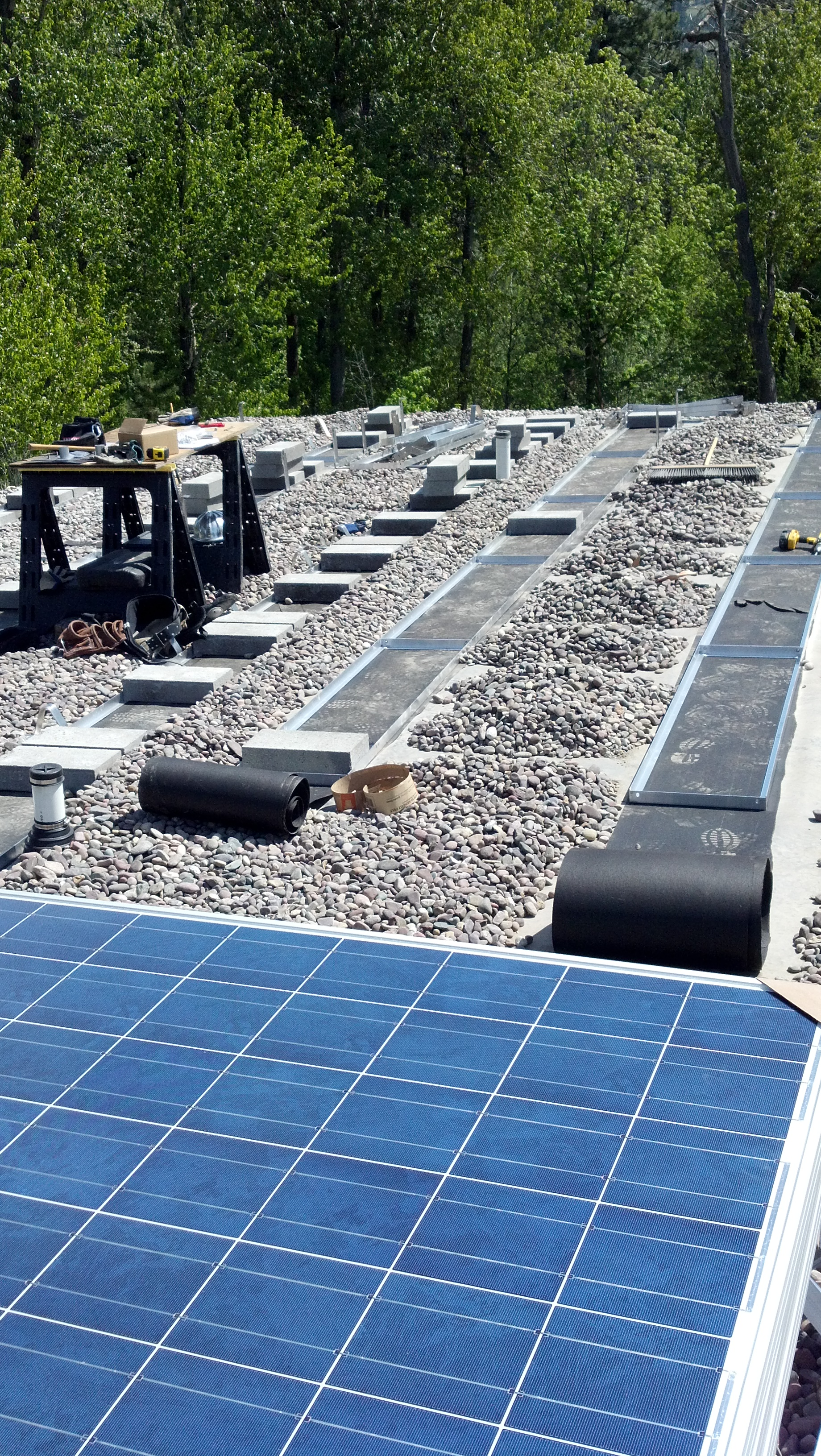 Ballasted Solar Electric Mounting System For Flat Roof